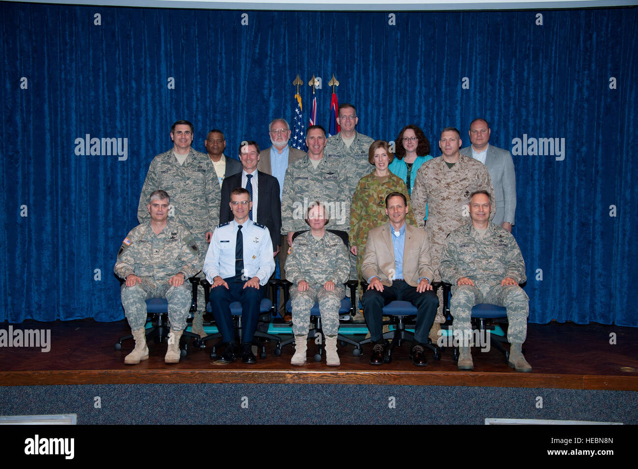 Attendees of the Senior Joint Information Operations Applications course course 12B pose for a group photo in the - Stock Image