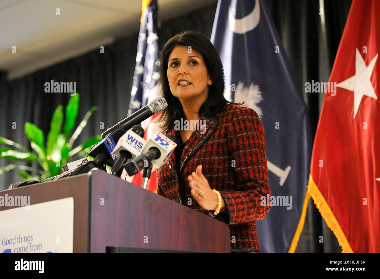 South Carolina Gov. Nikki Haley joins U.S. military service members and community business partners for the launch - Stock Image