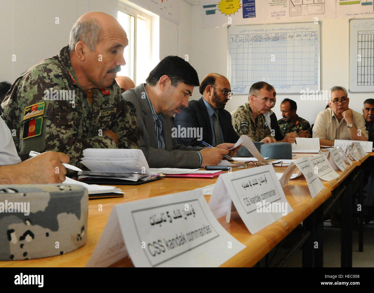 Deputy Commander Brig. Gen. Sanaullah Bader, Afghan National Army 209th Corps, hosted a security meeting with top - Stock Image