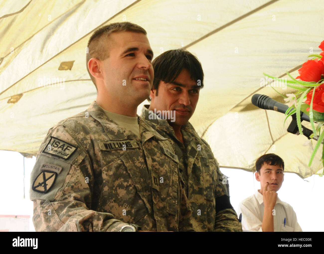 Soldiers of the 10th Mountain, stationed at Camp Mike Spann, and Afghan National Army soldiers from Camp Shaheen, - Stock Image