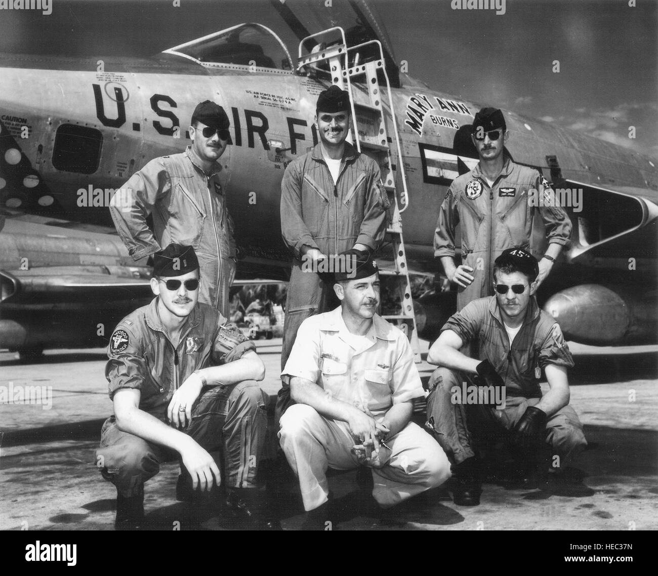 First six 'Able Mabel' pilots from the 45th Reconnaissance Squadron, Misawa AB, Japan.    Front row (left - Stock Image