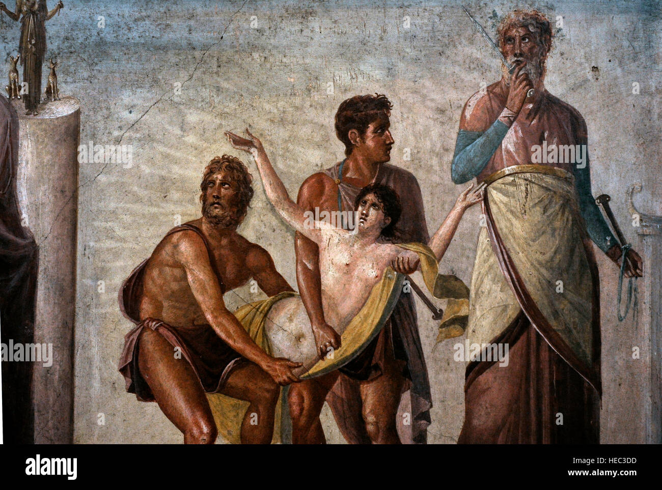 The Sacrifice of Iphigenia. House of the Tragic Poet. Pompeii, Italy. 1st century AD. National Archaeological Museum, - Stock Image