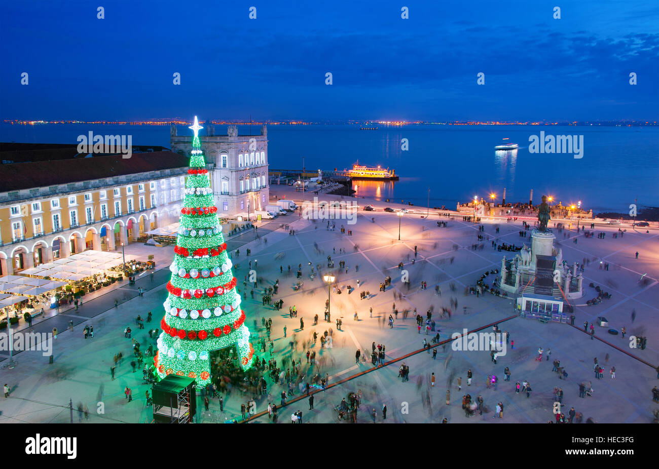 Christmas tree on Commerce square at twilight in Lisbon, Portugal - Stock Image
