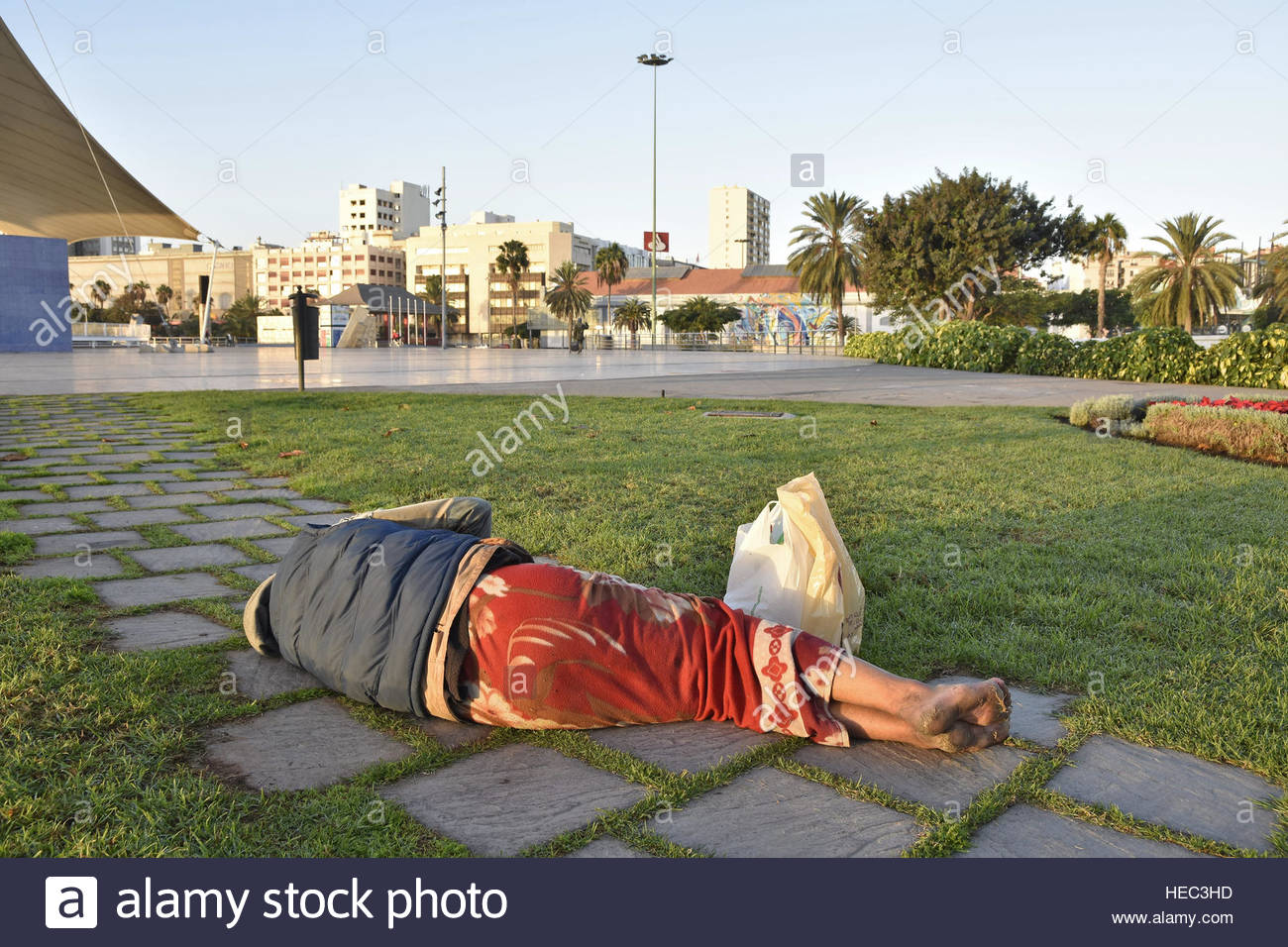 5a87e8860d Homeless man sleeping on the ground in Las Palmas Gran Canaria Canary  Islands Macaronesia (Spain)
