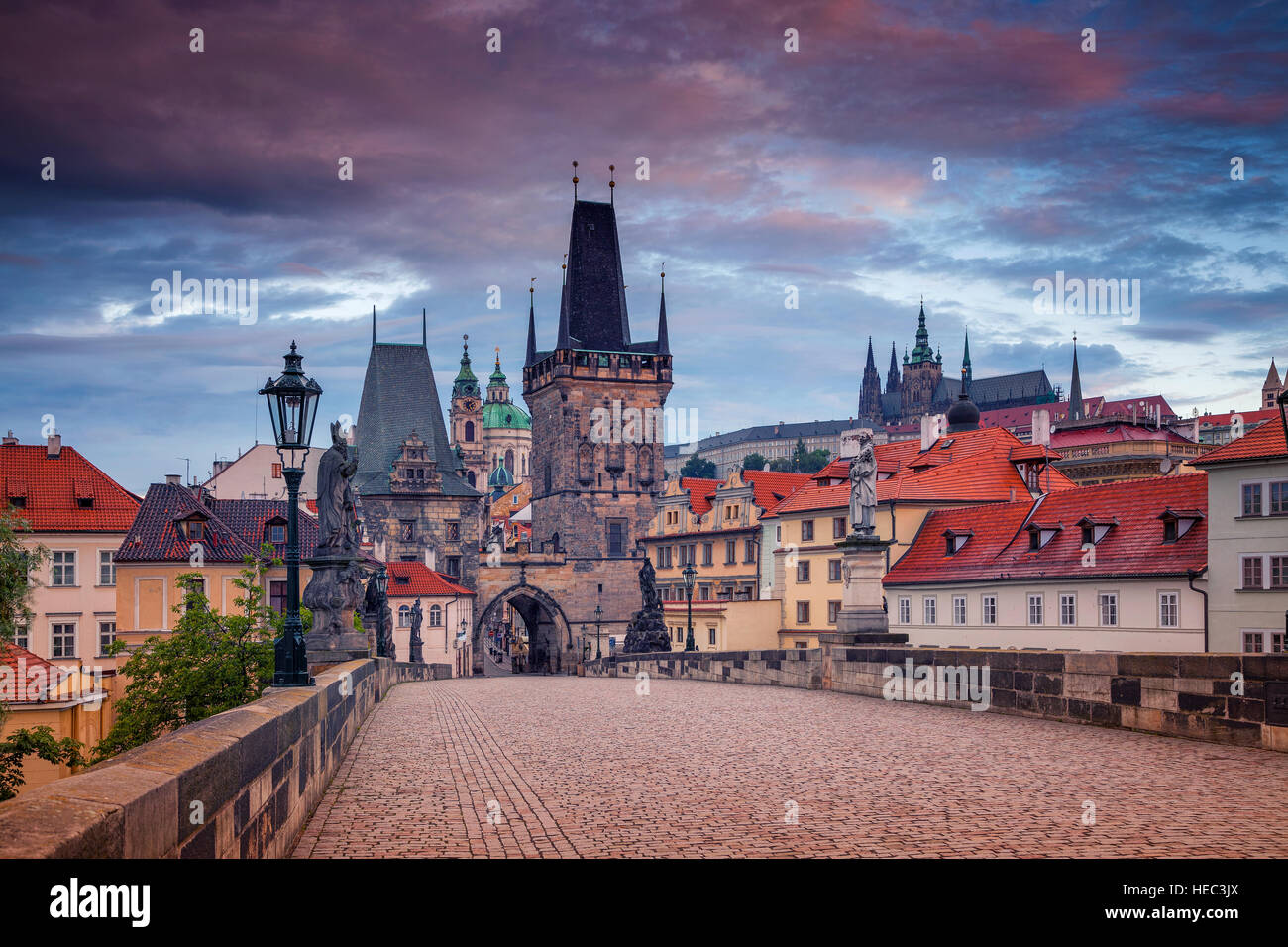 Charles Bridge, Prague. Cityscape image of Charles Bridge in Prague, Czech Republic during sunrise. Stock Photo