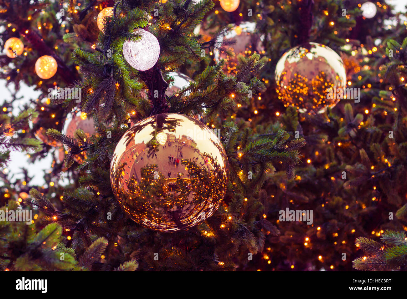 Christmas Baubles On Christmas Tree. Large Christmas Baubles On Artificial Christmas  Tree