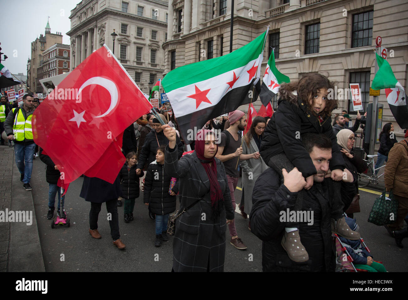 Syria Solidarity Campaign March For Aleppo on December 17th 2016 in London, England, United Kingdom. Protesters - Stock Image
