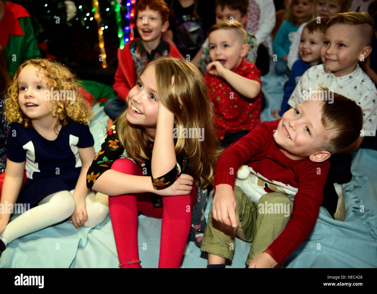 A Christmas Party.Kids At A Christmas Party Enjoying The Children S