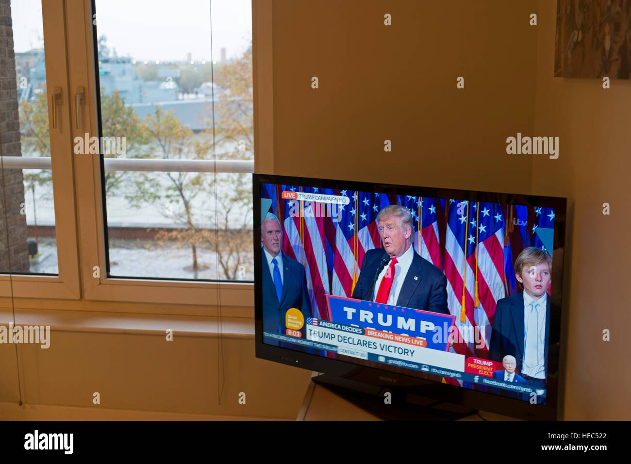 President Elect Donald Trump makes his acceptance speech on the morning after the US Presidential Elections in 2016, - Stock Image