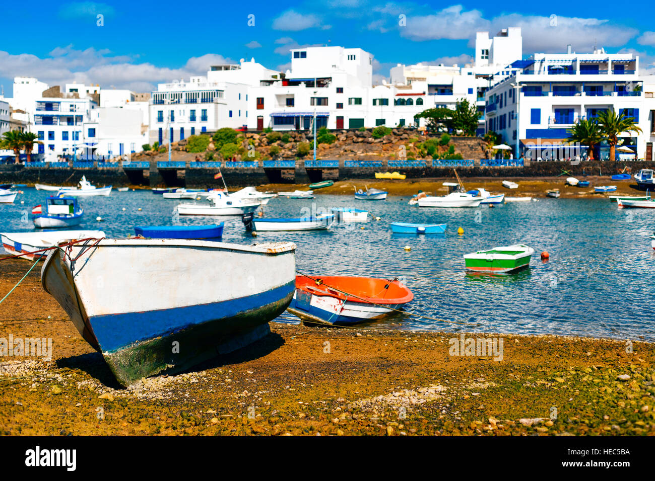 fishing boats in the bay Charco de San Gines, in Arrecife, Lanzarote, in Canary Islands, Spain - Stock Image