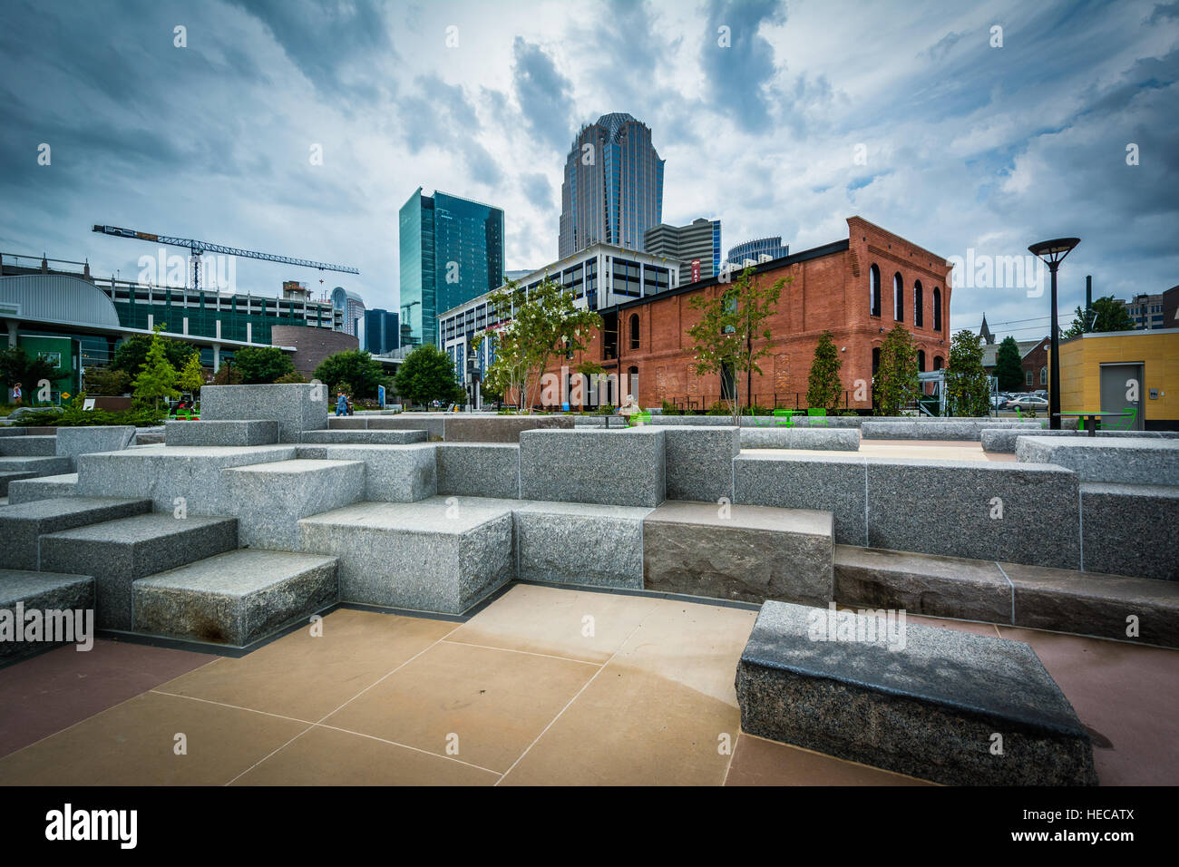 First Ward Park, in Uptown Charlotte, North Carolina. - Stock Image