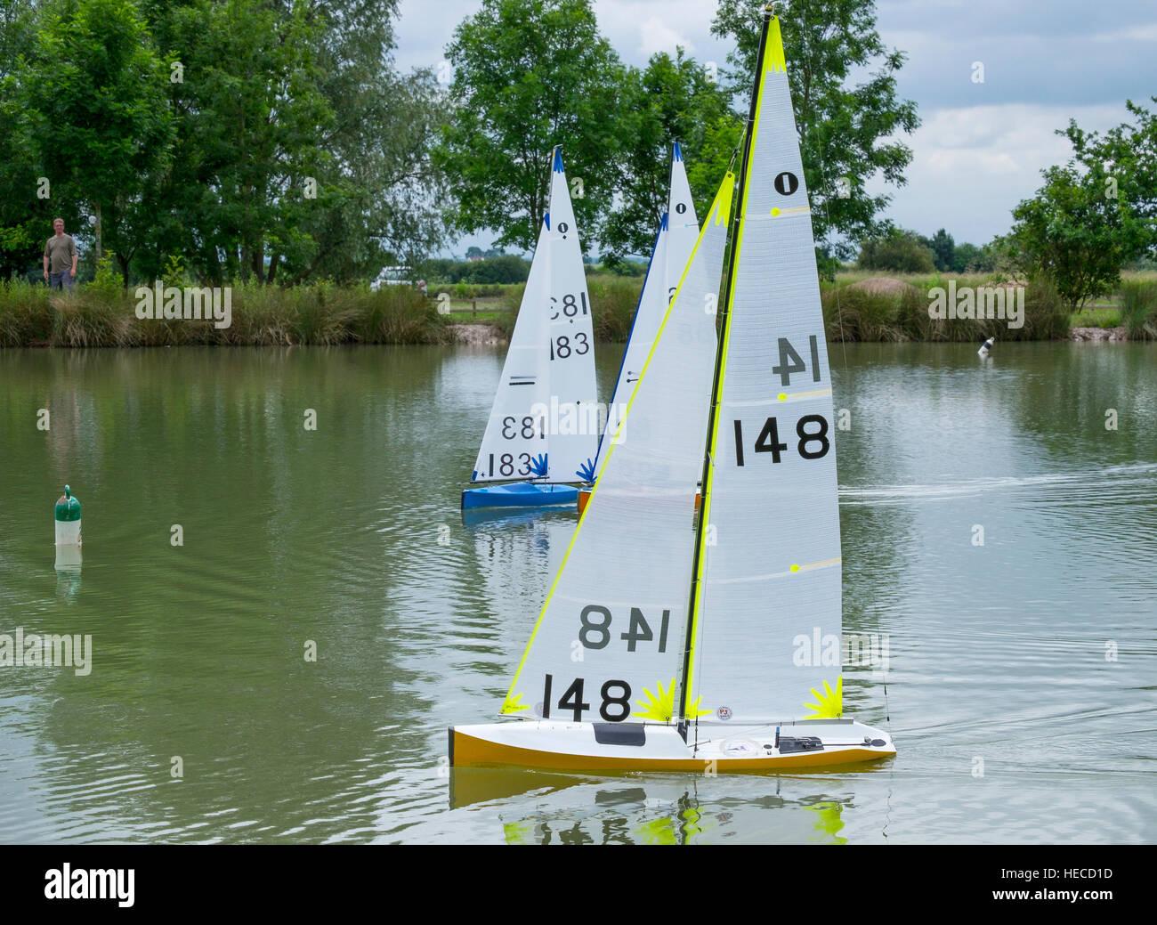 Radio controlled yachts racing. - Stock Image