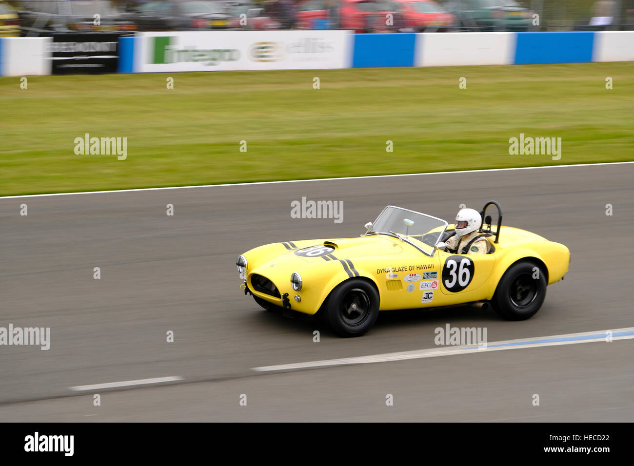 AC ace at speed at Donington Historic Festival, Leicestershire, England. - Stock Image