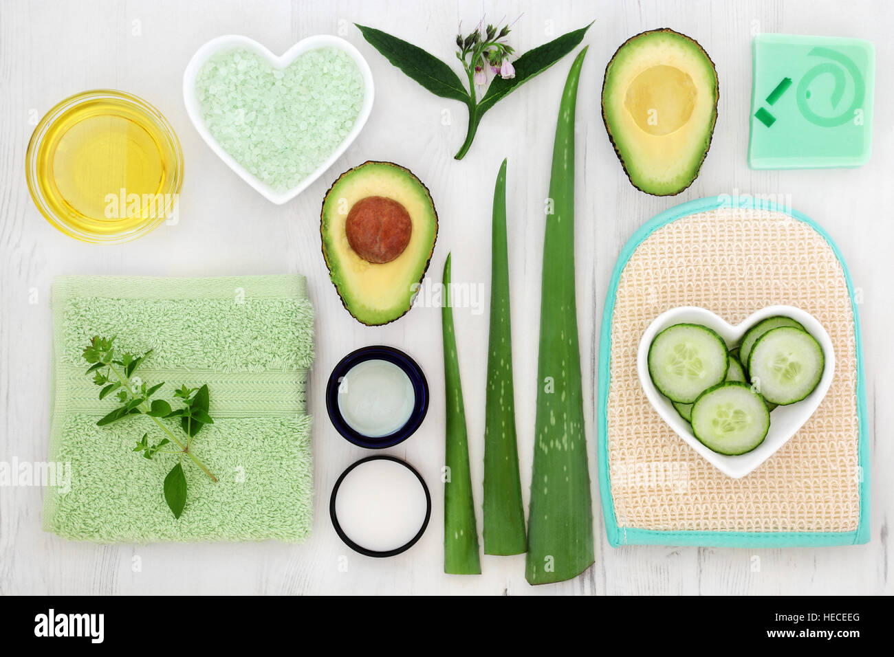 Skincare ingredients to cleanse and soothe skin disorders. - Stock Image