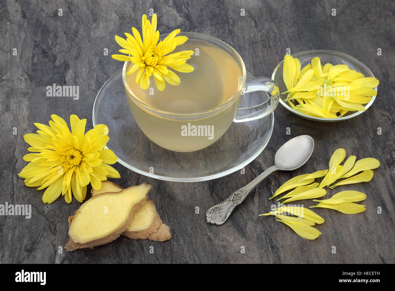 Chrysanthemum herb flower tea with glass tea cup with ginger spice chrysanthemum herb flower tea with glass tea cup with ginger spice and old spoon also used in traditional chinese herbal medicine mightylinksfo