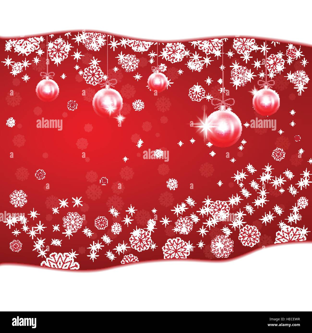Red Christmas balls on New Year's background with stars and snowflakes. - Stock Image
