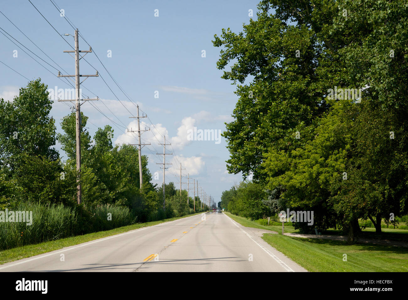 Northbound on Route 66, near Dwight, Livingston County, Illinois, USA. - Stock Image