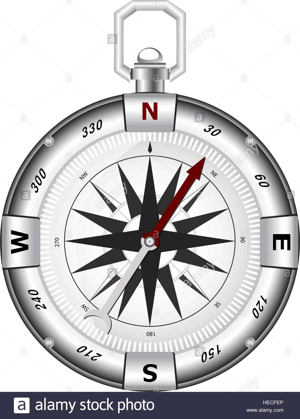 Isolated modern compass for travels and tourists on white background - Stock Vector