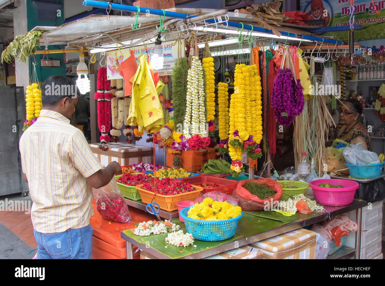 Market stall in Little India, Singapore - Stock Image
