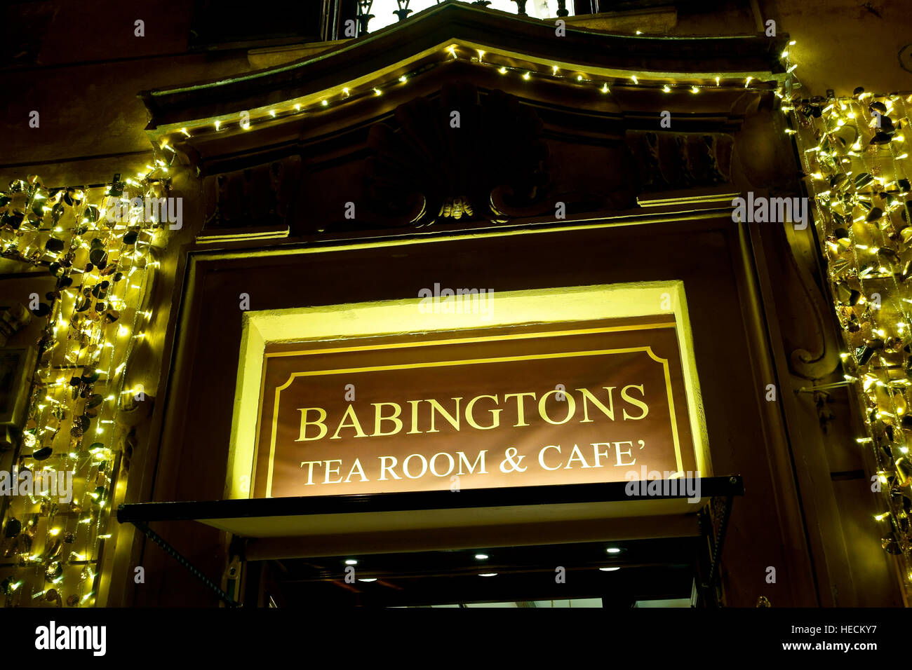 Babingtons famous tea room and cafe at the bottom of the Spanish Steps in Piazza di Spagna in Rome Christmas, Italy, - Stock Image