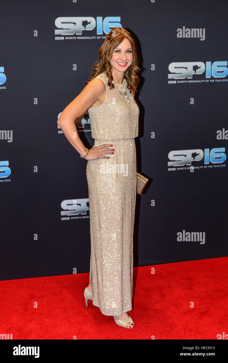 Joanna Rowsell  arriving on the Red Carpet  the 2016 Sports personality Of The Year, Genting Arena, Birmingham, - Stock Image