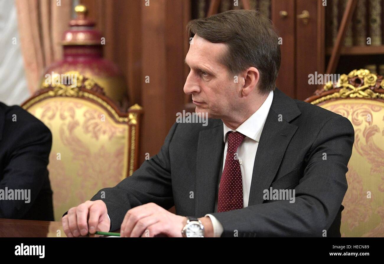 Moscow, Russia. 19th Dec, 2016. Director of the Foreign Intelligence Service Sergei Naryshkin during an emergency - Stock Image