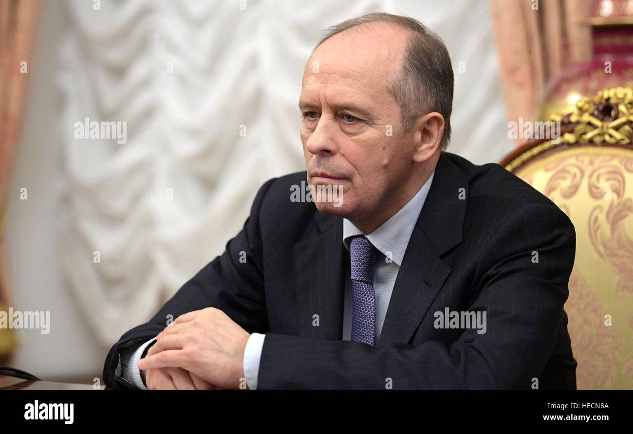 Moscow, Russia. 19th Dec, 2016. Director of the Federal Security Service Alexander Bortnikov during an emergency - Stock Image