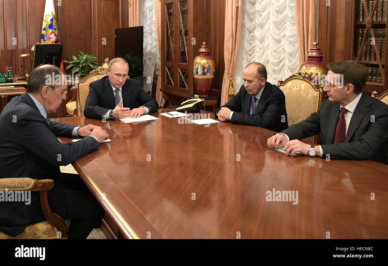 Moscow, Russia. 19th Dec, 2016. Russian President Vladimir Putin holds an emergency meeting with Security Officials - Stock Image