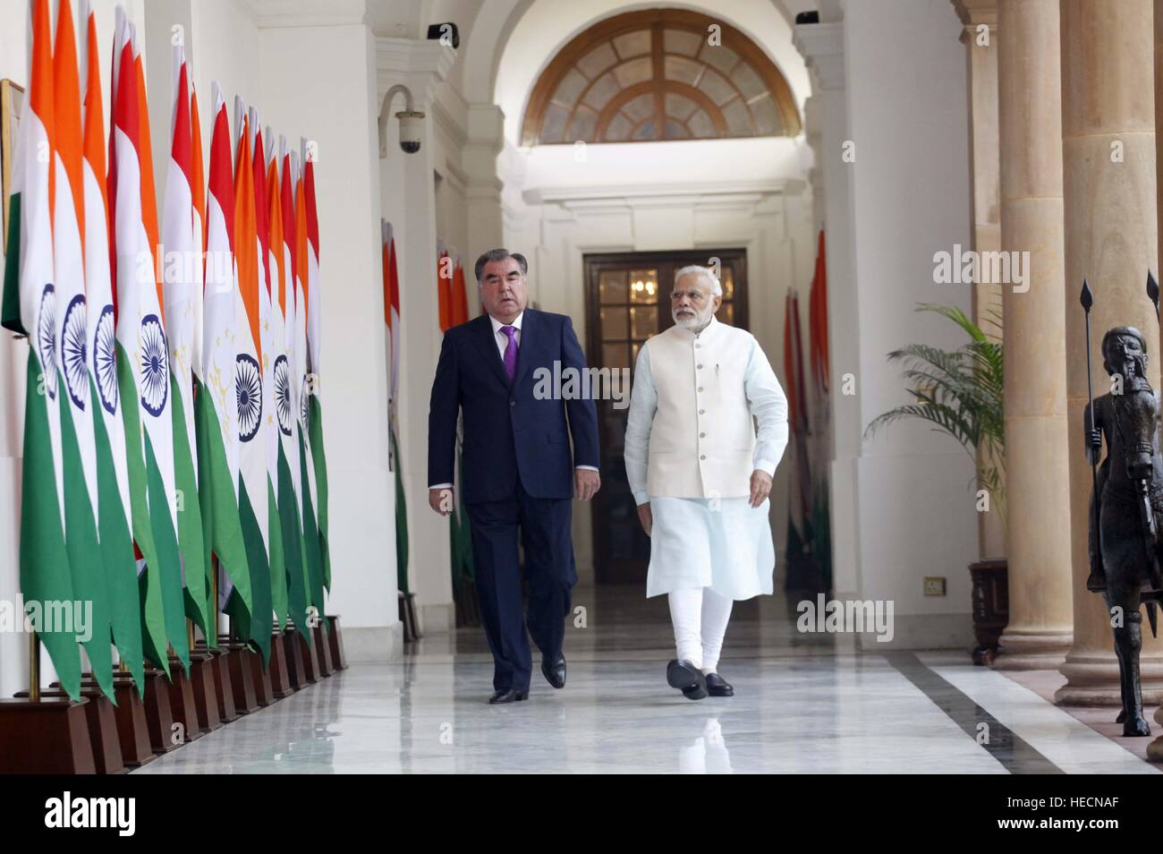 Indian Prime Minister Narendra Modi escorts Tajikistan President Emomali  Rahmon at Hyderabad House December 17, 2016 in New Delhi, India.