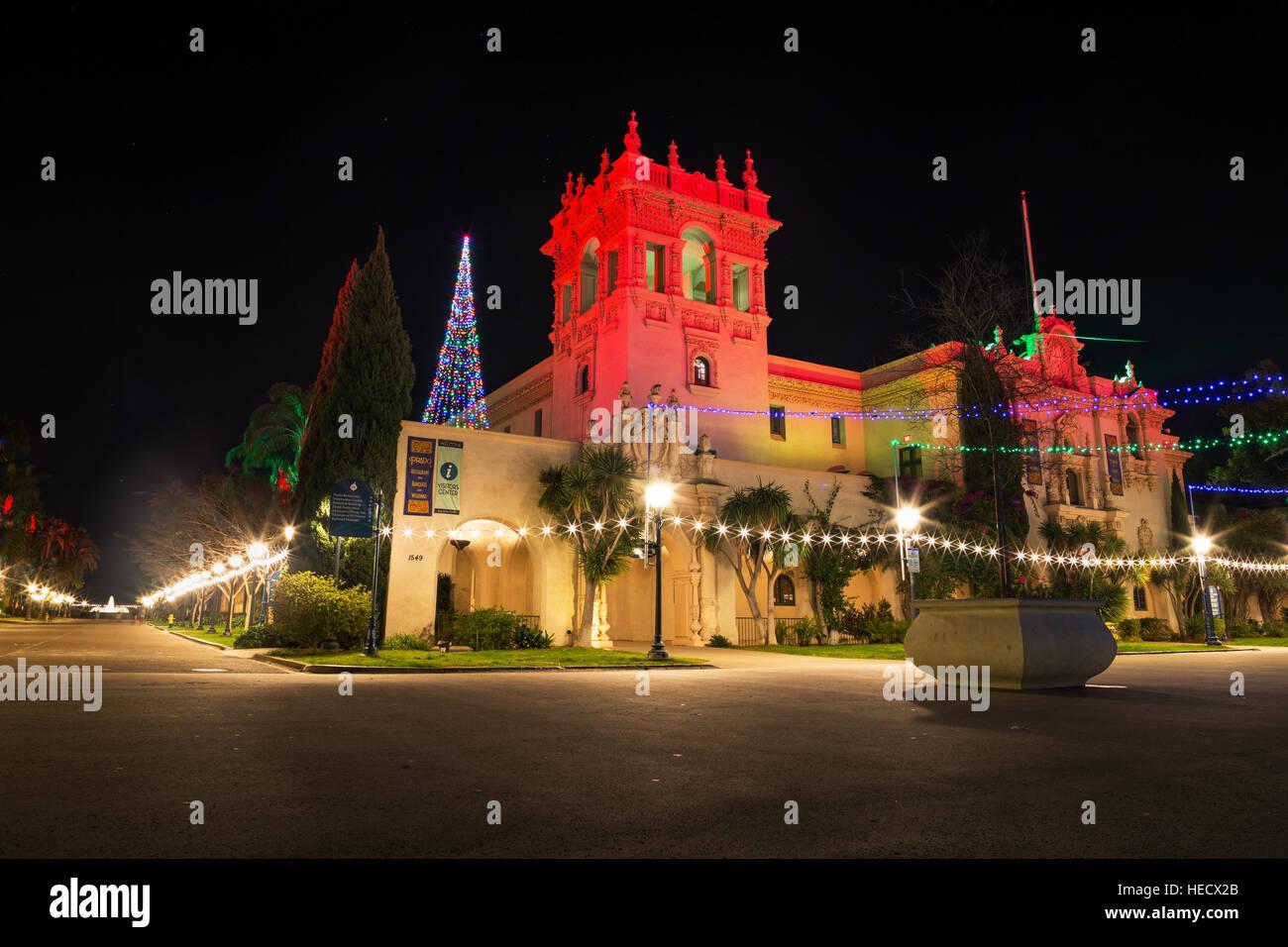 san diego usa 19th december 2016 colorful christmas light display illuminates balboa - Balboa Park Christmas Lights