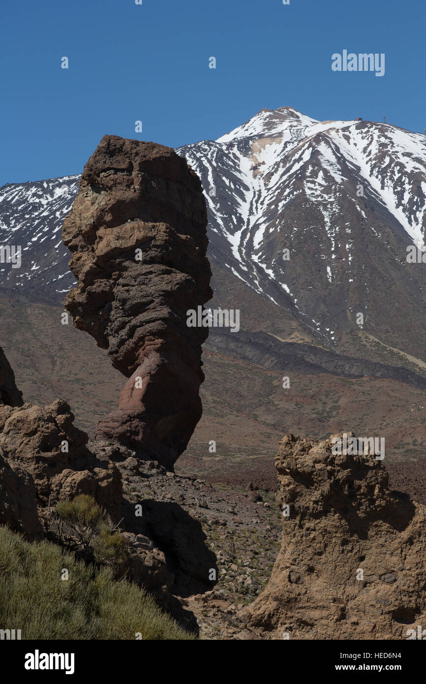 'The Finger of God' a volcanic rock formation near Mount Teide, Tenerife, Canary Islands, Spain - Stock Image