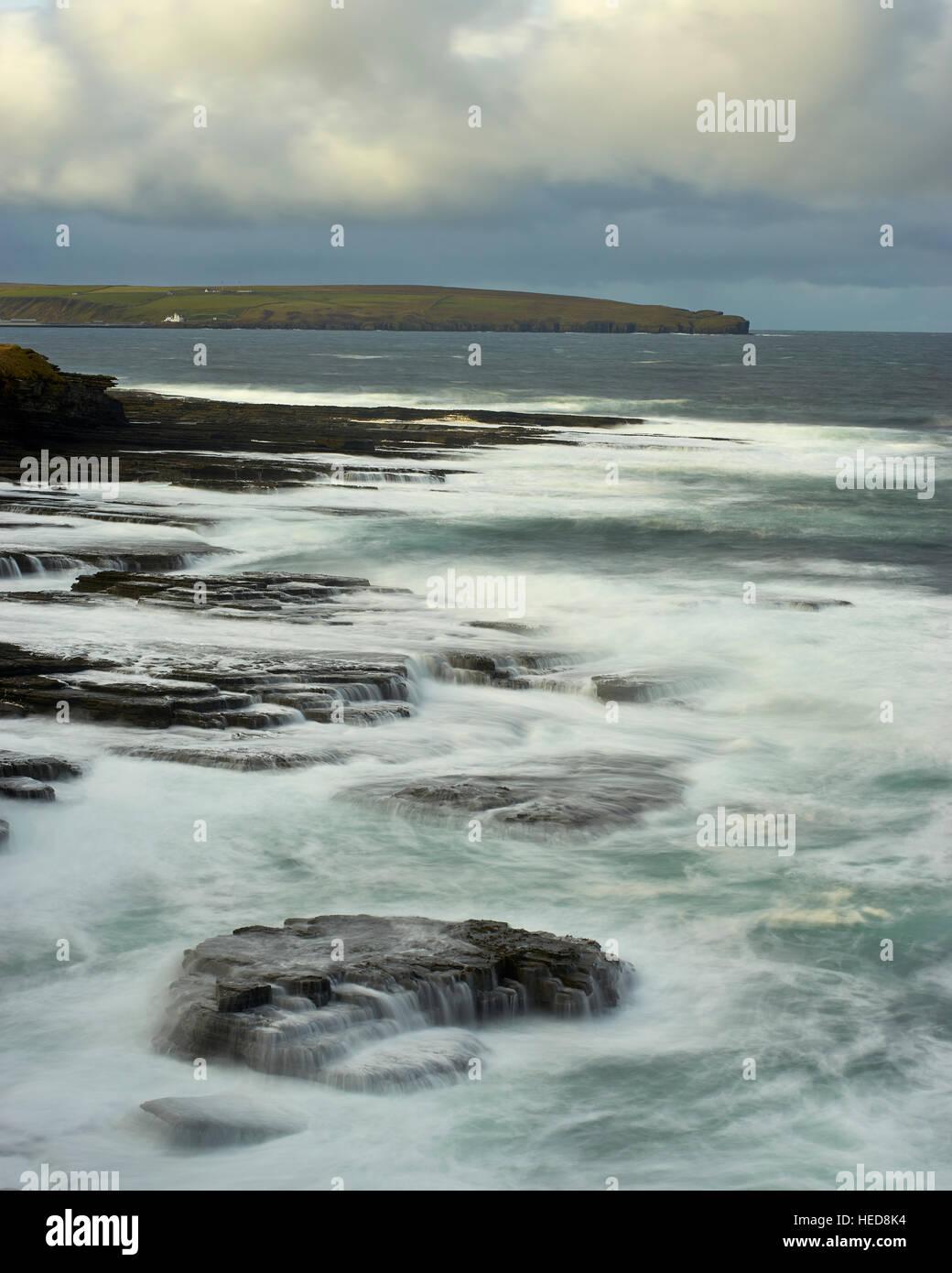 Coastline west of Thurso, looking to Holborn Head, Caithness, Scotland. - Stock Image