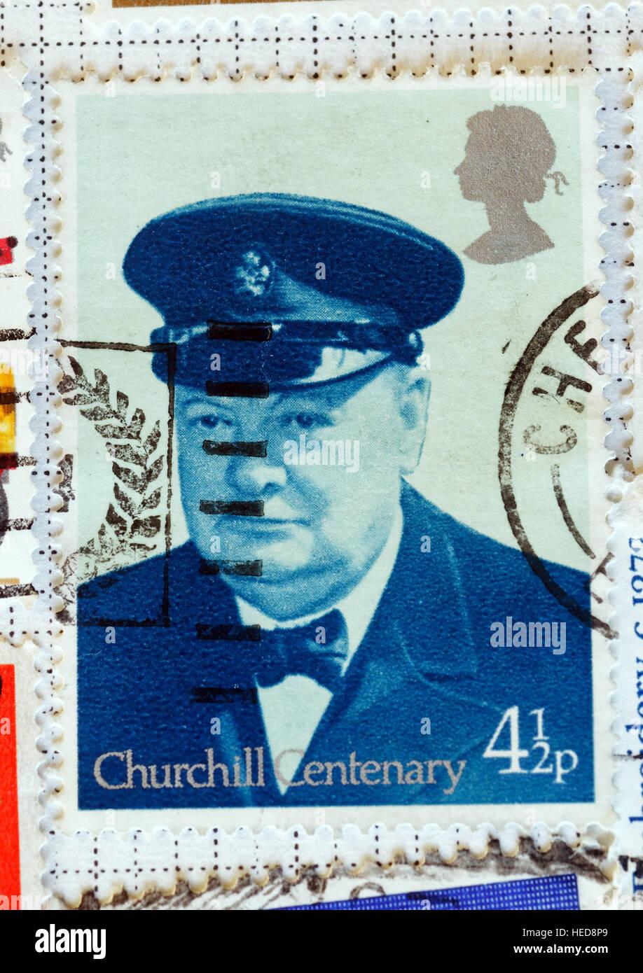 Winston Churchill centenary stamp from 1974 - Stock Image