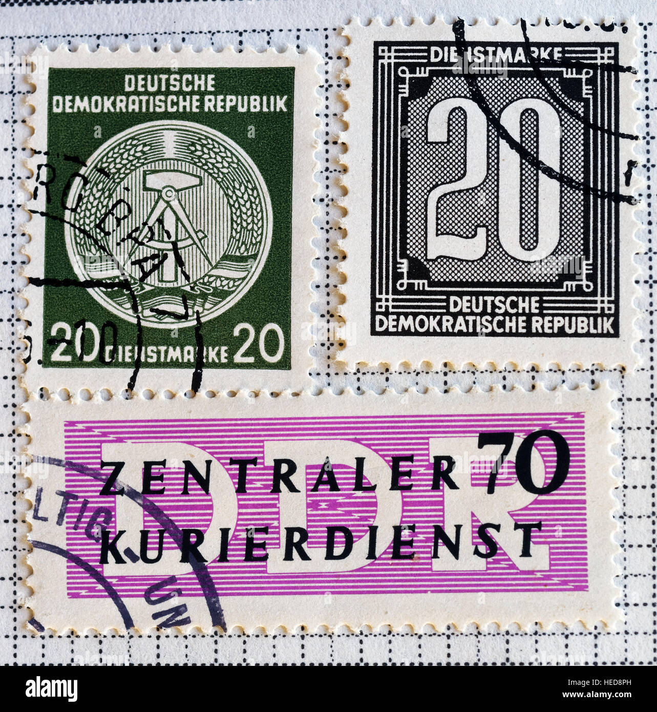 East German (DDR) postage stamps - Stock Image