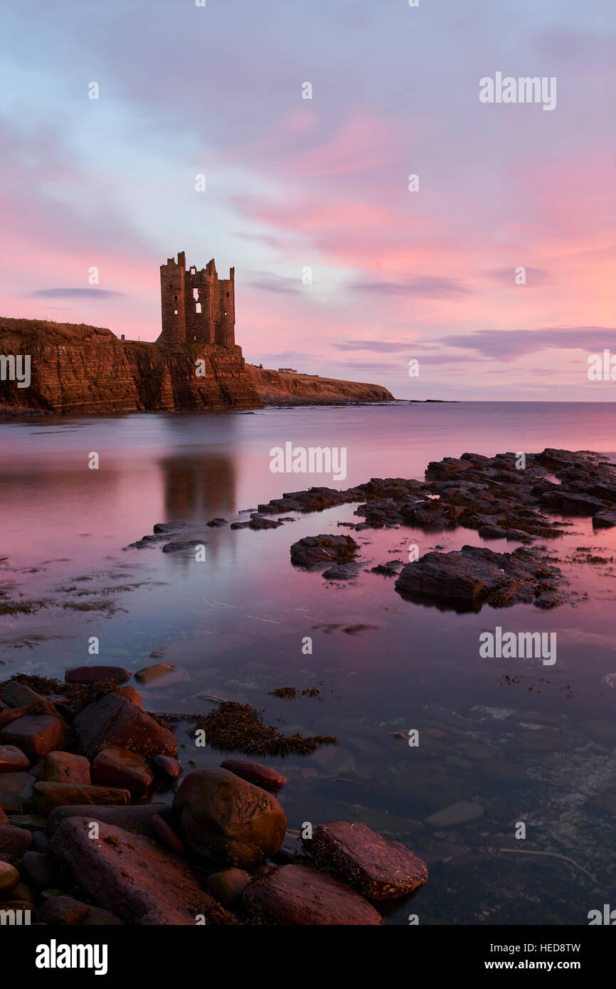 Keiss Castle, Cathness, Scotland at sunrise - Stock Image