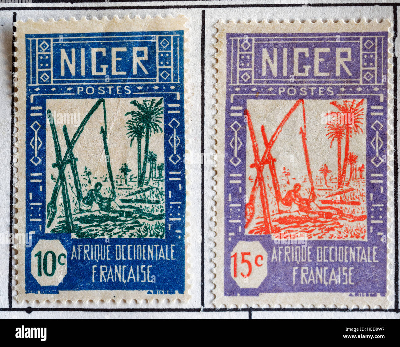 French colonial Africa postage stamps from Niger - Stock Image