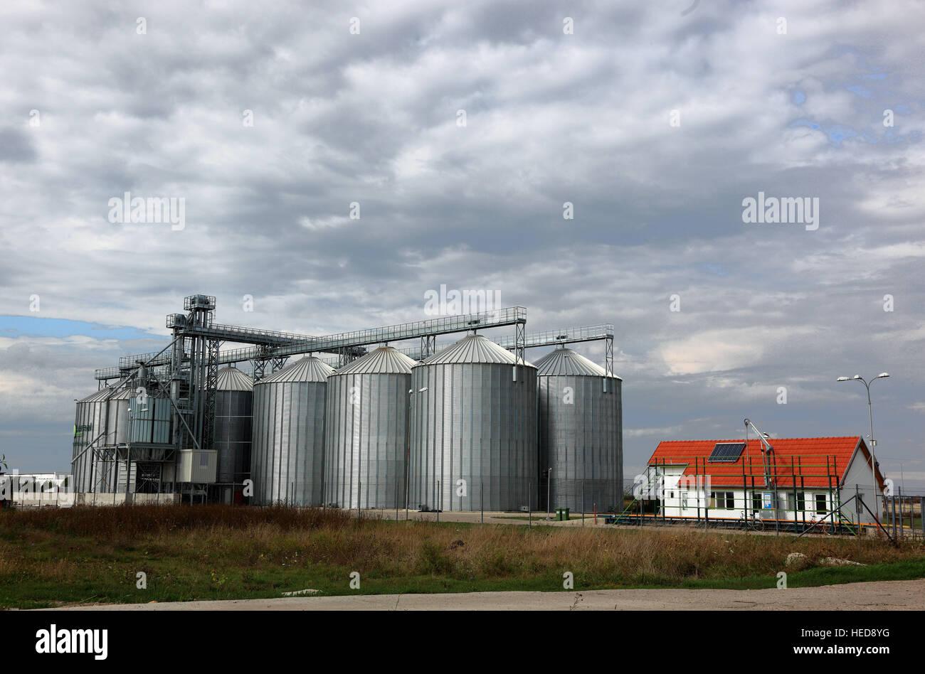 Rumänien, Kreischgebiet, Landwirtschaft, landwirtschaftliche Vorratshaltung, Getreidesilos, Silo-Lagerung, - Stock Image