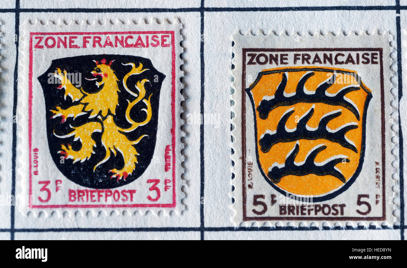 Stamps from the French Occupied area of Germany after WW2, with the coat of arms of Rhineland-Palatinate (L) and - Stock Image