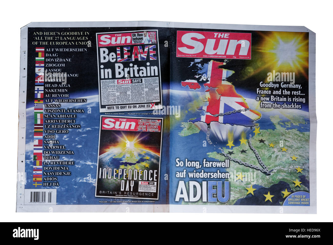 The Sun front page from June 25 2016 celebrating Brexit, the UK decision to leave the European Union after the referendum - Stock Image