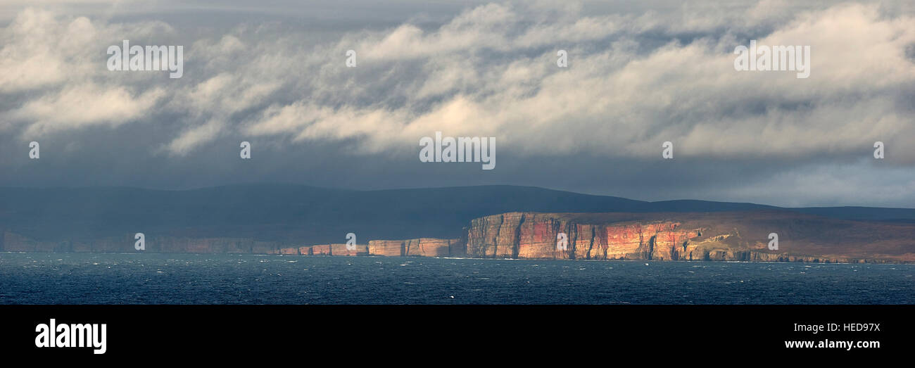 Cliffs of Hoy, Orkney Islands, from Dunnet Head, Caithness, Scotland.  Panoramic - Stock Image
