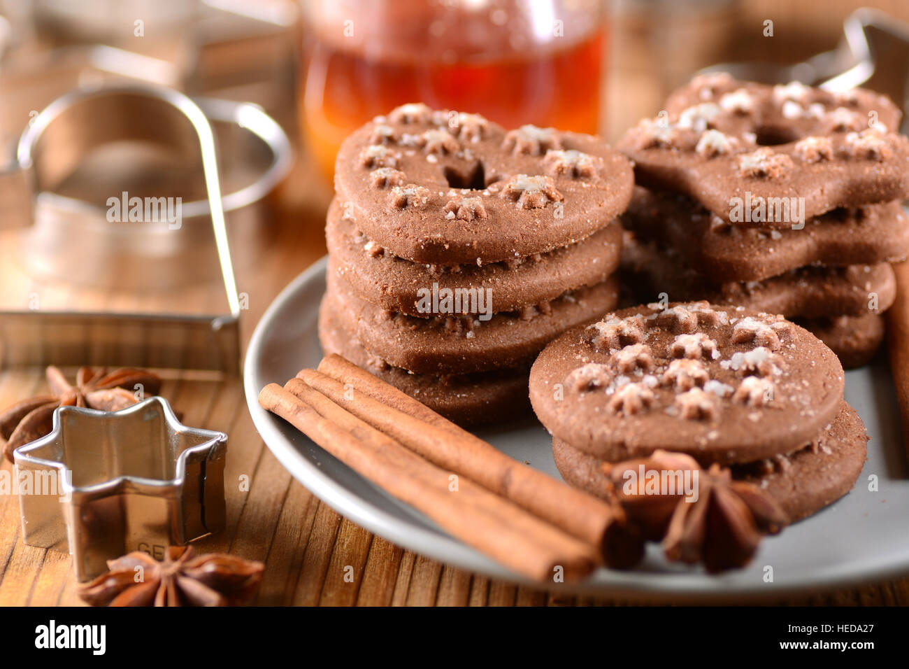 homemade chocolate cookies with ingredients around - Stock Image