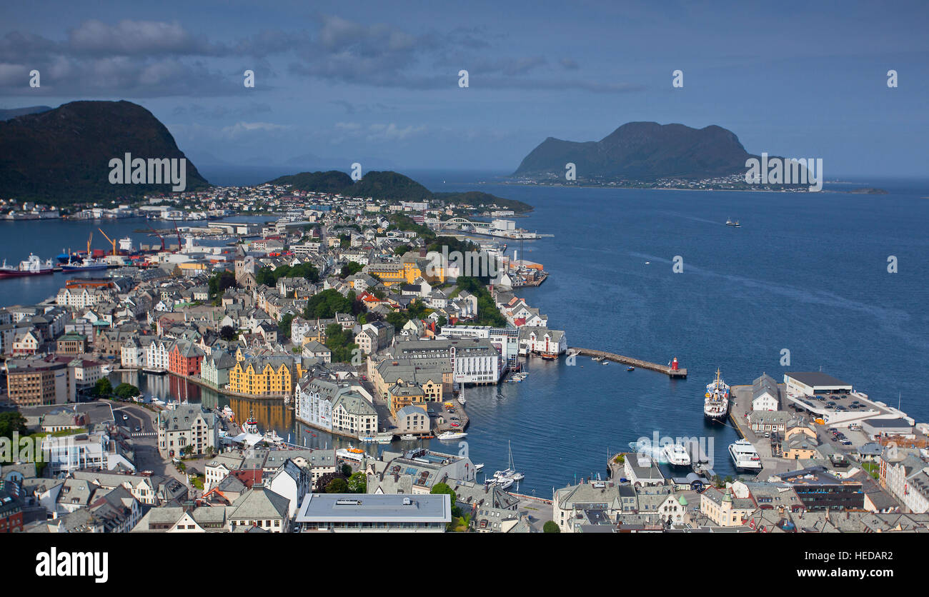 Alesund in Møre og Romsdal county, Norway. It is part of the traditional district of Sunnmøre and has - Stock Image