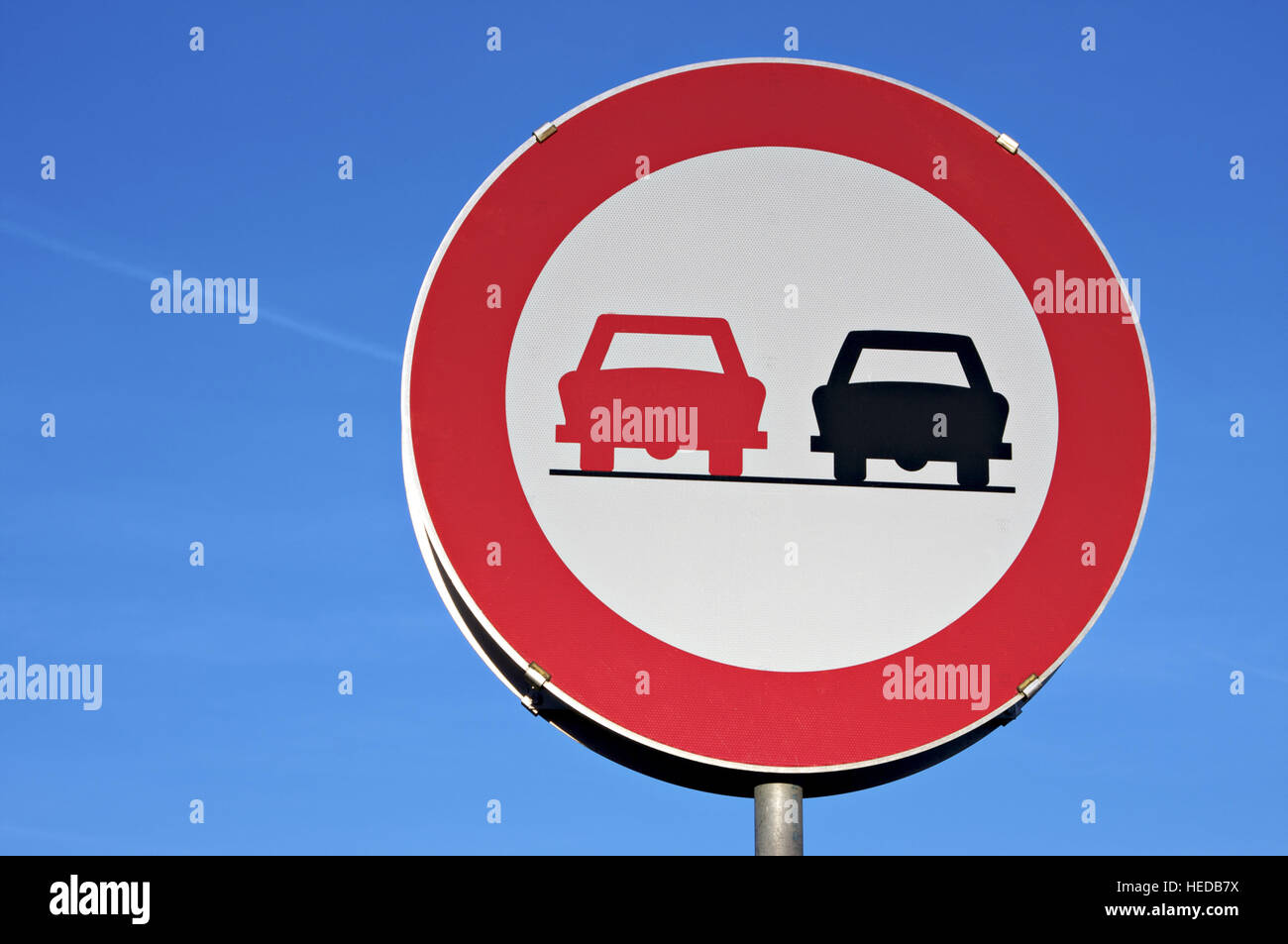 Traffic sign: Do not overtake, no passing - Stock Image