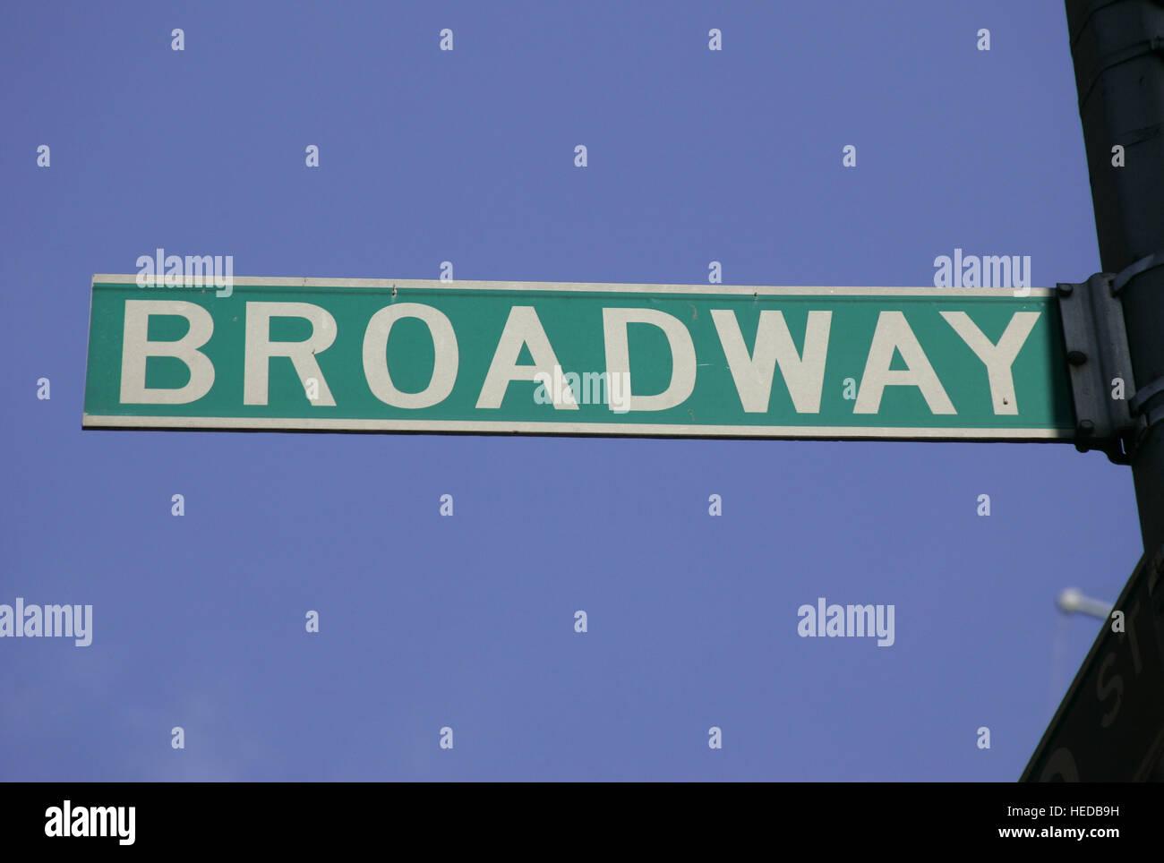 Road sign, Broadway, New York, USA - Stock Image