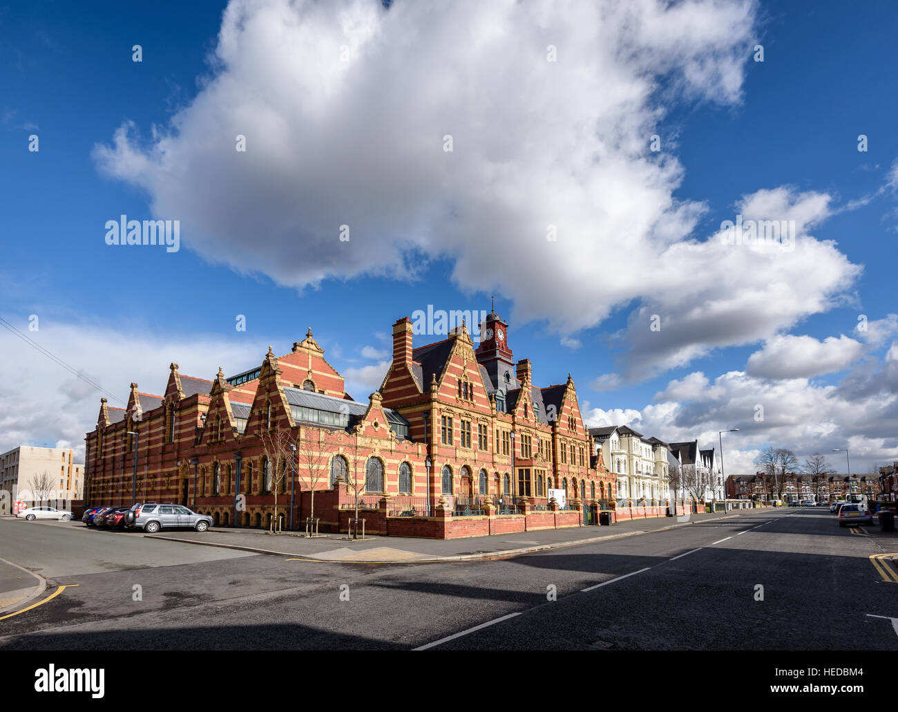 Victoria Baths is a Grade II listed building, situated in the Long sight area of Manchester, in northwest England. - Stock Image