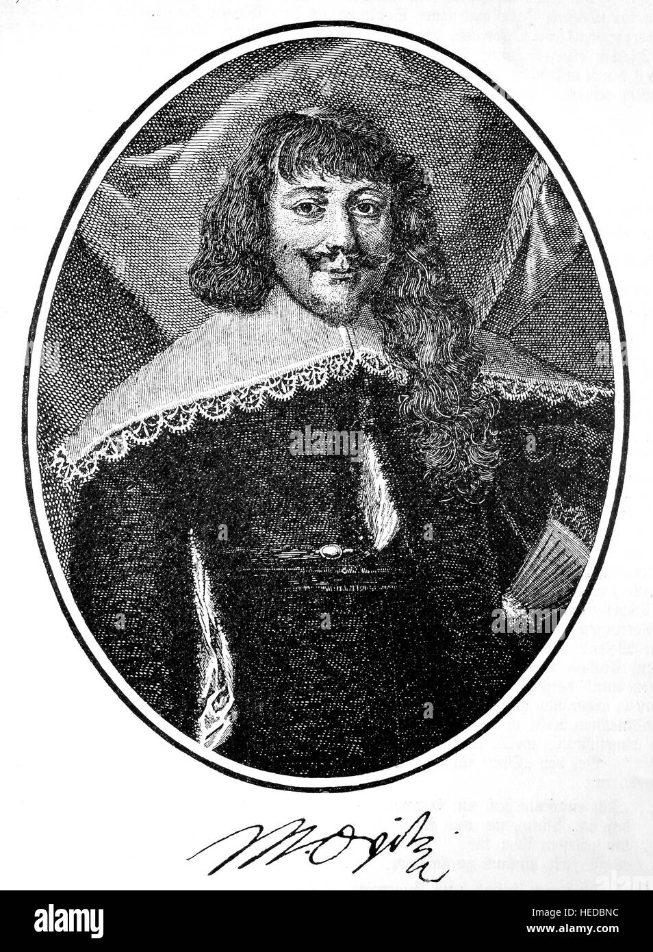 Martin Opitz von Boberfeld, 1597-1639, a German poet, from a woodcut of 1880, digital improved Stock Photo