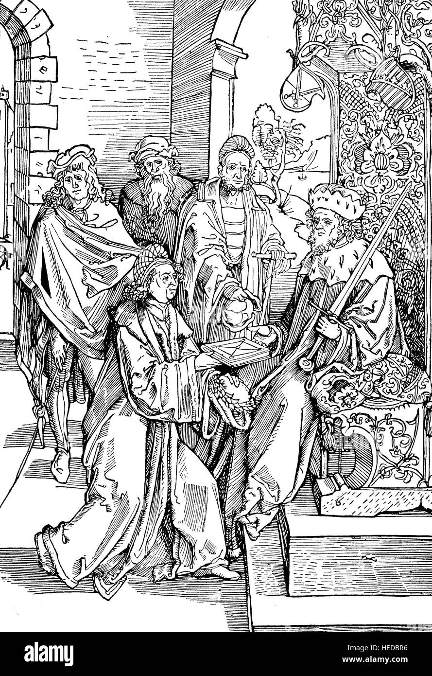 Konrad Celtes or Conrad Celtis, the first crippled German poet, handed over to the Elector Frederick of Saxony the - Stock Image