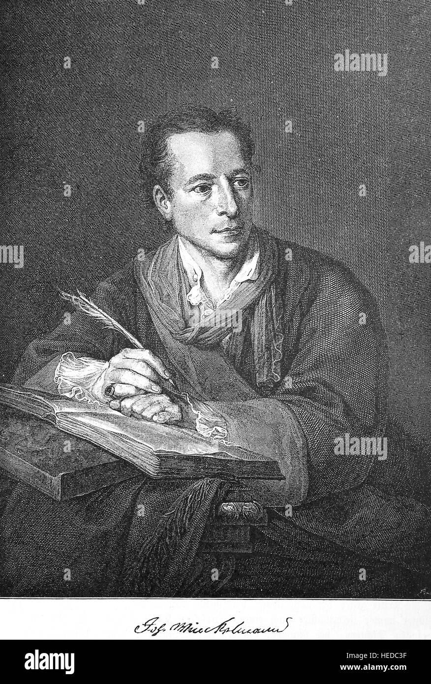 Johann Joachim Winckelmann, 1717-1768, a German art historian and archaeologist, from a woodcut of 1880, digital - Stock Image
