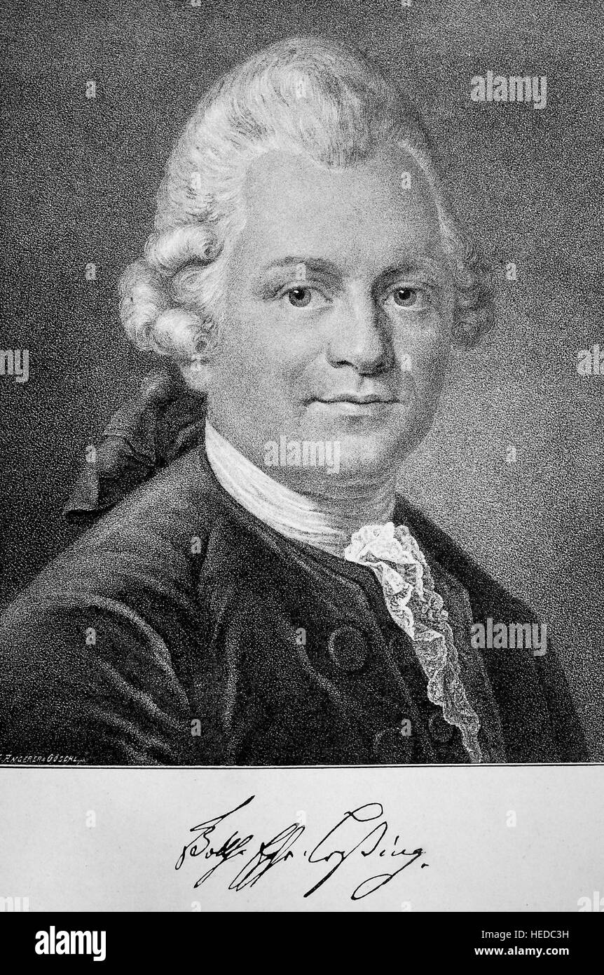 Gotthold Ephraim Lessing, 1729-1781, a German writer, philosopher, dramatist, publicist and art critic, in the picture - Stock Image