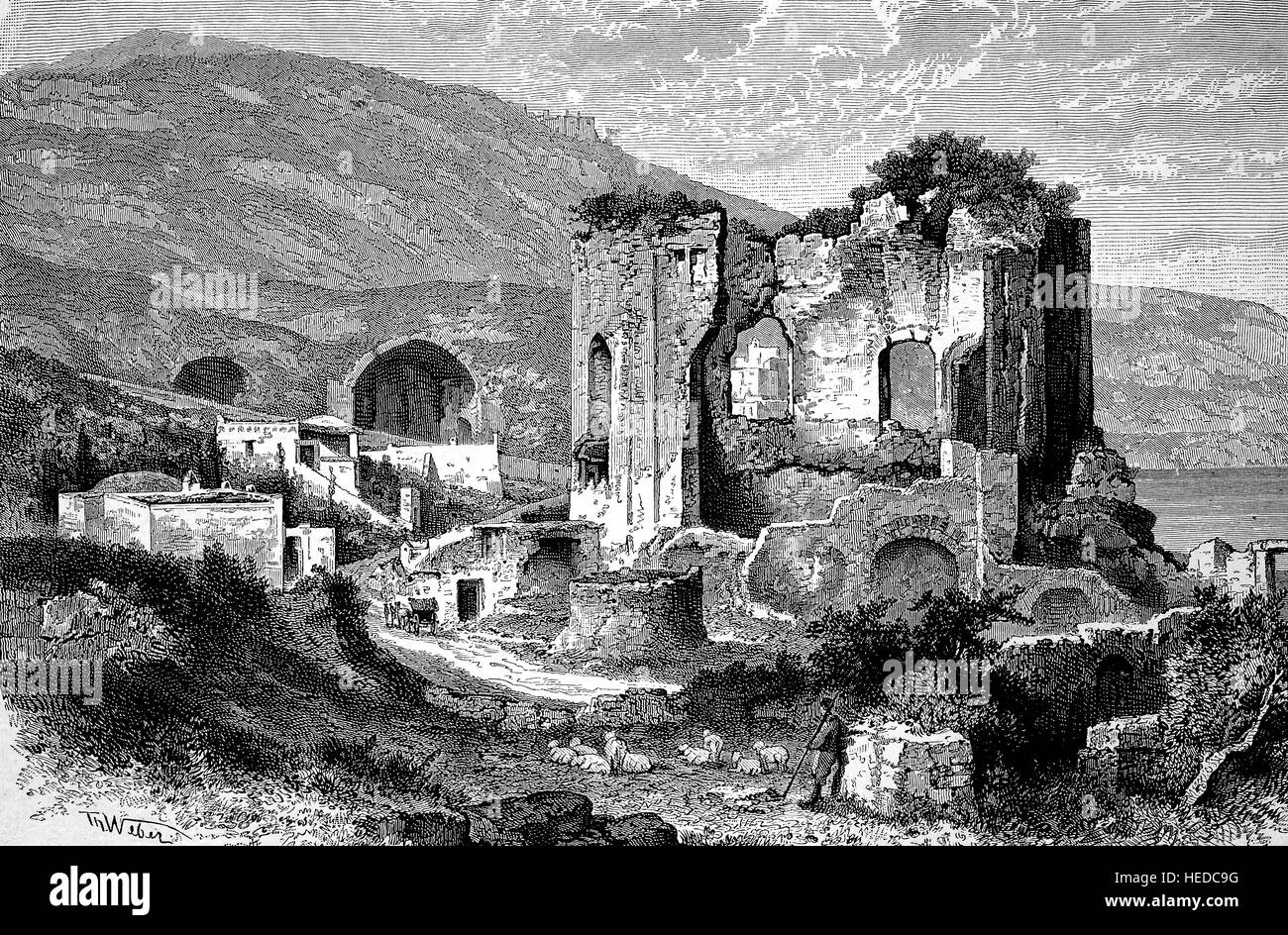Ruins of Venus temple in Baja, an ancient settlement on the Gulf of Naples, Italy, from a woodcut of 1880, digital - Stock Image